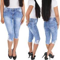 Damen Stretch Capri Shorts Bermuda 3/4  Jeans Kurze Hose Hüftjeans Sommerhose