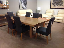 Dekota Solid Victorian Ash Dining Table 7pc Set 6 top grain 100% leather chairs