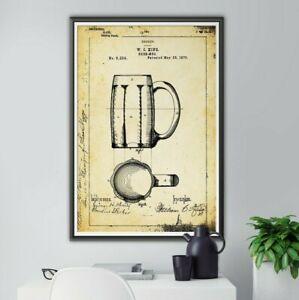 """1876 BEER MUG Patent POSTER! (up to 24"""" x 36"""") - Bar - Brewery - Tap - Keg - Art"""