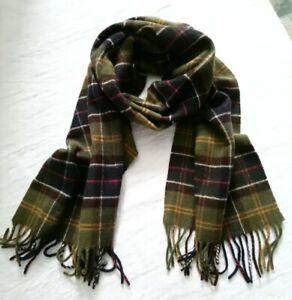Barbour tartan 100% Cashmere scarf olive navy brown
