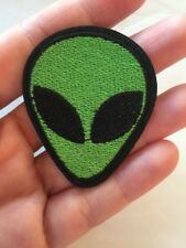 """Alien Embroidered Patch Iron On Green Black Cute 2"""" X 1.5"""" Small Size"""