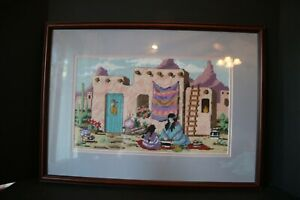 Native American Women at Work Needlepoint Picture Framed Southwestern Pueblo