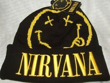 Adult Black Nirvana Smiley Face Kurt Cobain Rock Band Knit Beanie Cap Ski Hat
