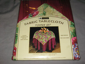 """Colorful Fabric Tablecloth Floral Topper Set Round 70"""" Entertain Party NEW!"""