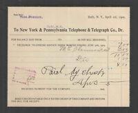 1905 NEW YORK & PENNSYLVANIA TELEPHONE & TELEGRAPH CO BATH NY ANTIQUE BILLHEAD