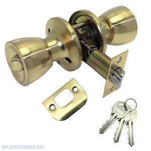 Brass Door Knob Set Privacy Passage Door Lock Handle Entrance Round Key Latch