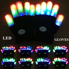 2PCS LED Flashing Mitt Gloves Glow In The Dark 7 Modes Light Up Finger Lighting