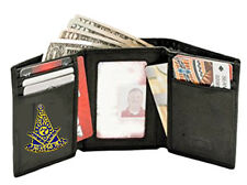 PAST MASTER WALLET - TRIFOLD STYLE - EMBROIDERED LOGO - NEW - QUALITY LEATHER