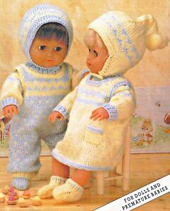 "Knitting Pattern DK Baby Dolls Clothes  12 16 20"" Premature Reborn Girls & Boys"