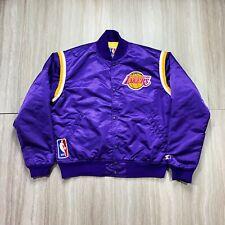 Vintage 1980s Los Angeles Lakers Starter Jacket Purple Satin Large