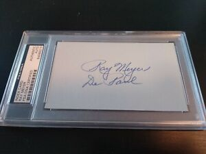 Ray Meyer Auto 3x5 index card PSA/DNA slabbed & certified Basketball H.O.F.