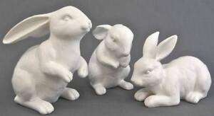 Easter Resin Bunny Rabbit Set of 3 White Garden Deco Kids Craft Free Gift