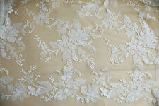 """Beaded White 55"""" Lace Fabric Floral Embroidery Corded Lace Fabric 1/2 Meter"""