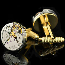 Mechanical Watch Movement Mens Wedding Vintage Gold Plated Cufflinks Sleeve Nail