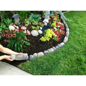 River Rock Edging Multi-Colored Concrete Overlapping Landscaping Edger 10-Pack