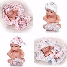 2pcs Vivid Newborn Boy n Girl Infant Dolls Silicone Vinyl Reborn Baby Doll Gift