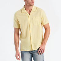 Levi's Yellow Linen Blend Short Sleeve Hawaiian Shirt Size S