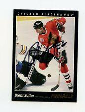BRENT SUTTER BLACKHAWKS AUTOGRAPH AUTO 93-94 PINNACLE #91 *62007