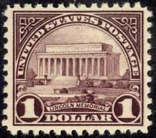 US 571 $1 1923 Fourth Bureau Issue Lincoln Memorial Very Fine NH