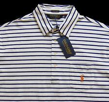 Men's POLO GOLF RALPH LAUREN White Stripe Stretch Lisle Shirt XXL 2XL NWT NEW