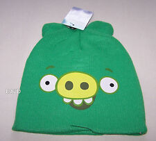 Angry Birds Boys Green Minion Pig Piggie Printed Acrylic Beanie One Size New