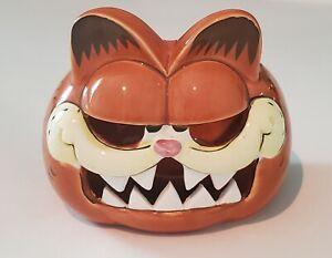Vintage Enesco Ceramic Halloween Garfield Candleholder, Tea Light Holder