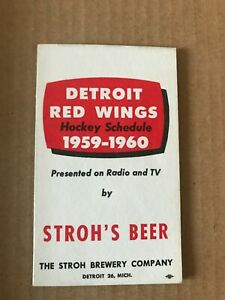 1959-60 Detroit Red Wings Schedule by Stroh's Beer: Mint!