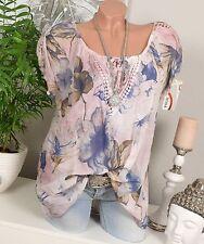 Camicia a Maniche Corte Tunica Estate häkel vintage rosa fiori shirt oversize 36 38 40