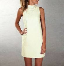 UK Plus Size Womens Polo Turtle Neck Ladies Tops Sleeveless Casual Mini Dress Beige XXXS