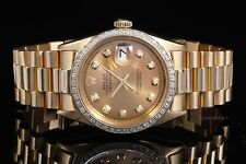 Rolex Yellow Gold Men's Datejust President Champagne Diamond Dial & Bezel