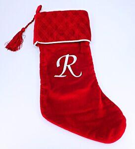 Harvey Lewis Monogram Letter R Luxurious Velvet Christmas Stocking Stuffer Gifts