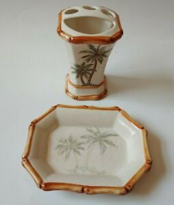 Spring Maid Ceramic Soap Dish Toothbrush Holder Palm Breeze Palm Tree Bamboo