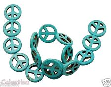 5 x Howlite Aqua PEACE Symbol Beads - 25 mm CND Charms - Turquoise