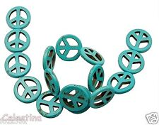 10 Howlite Aqua PEACE Symbol Beads - 25 mm CND Charms - Turquoise