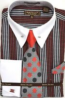 Men's Dress Shirt Tie Hanky Set Plaid White/Black/Red Cuff Links French Cuff