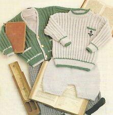"Baby Boys Cardigan Sweater Short Leggings pockets Knitting Pattern 18-26"" 921 DK"