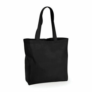 Westford Mill Plain Ethical Cotton Bag Shopping Shoulder Tote Black White 36x41