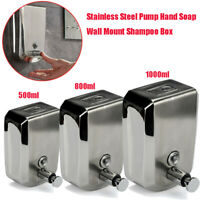 1L Capacity Stainless Steel Wall Mounted 2 Cups Soap Dispenser Shampoo Container