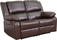 Contemporary Home Design Brown Leathersoft Loveseat with Built in Recliners