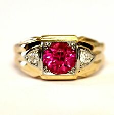 14k yellow gold mens .20ct diamond created tourmaline gemstone ring 7.6g vintage