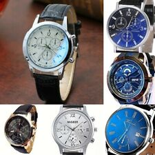 Men Women Steel case Faux leather DECORATION SUB DIALS Wrist watch Analog quartz