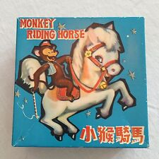 Vintage Tin Litho Wind Up Monkey Riding Horse Original Box Works (No Key) Ms 764