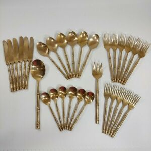 31 Thai Bronze Bamboo Flatware Pieces 6 Places Serving Spoon/Fork Thailand READ