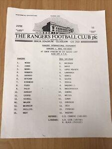 1987/88 GLASGOW RANGERS  V Real Sociedad FOOTBALL DIRECTORS BOX TEAM SHEET