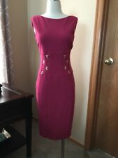 Cache Simply Stunning Dark Pink Stretch Dress- Gold Detailing - Must See! Size 4