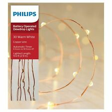 Philips 30ct Christmas Battery Operated LED Dewdrop Fairy Lights Warm White NEW