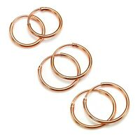 Rose Gold Plated Sterling Silver Lightweight Sleeper Hoops 8mm - 35mm & Sets
