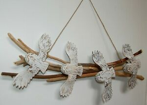 Wall hanging with 4 hand carved wooden owls on driftwood 60cm x 24cm - white