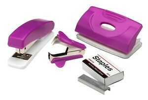 Office Stationery 4 Piece Stapler Hole Punch Set Purple - FAST & FREE DELIVERY
