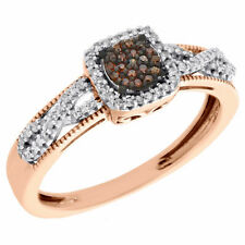 Style Right Hand Cocktail Ring 0.20 Ct 10K Rose Gold Red Diamond Square Infinity